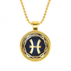 ALK548 Кулон с цепочкой Знаки Зодиака - Рыбы, цвет золот.