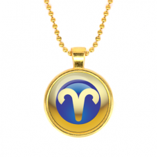 ALK549 Кулон с цепочкой Знаки Зодиака - Овен, цвет золот.