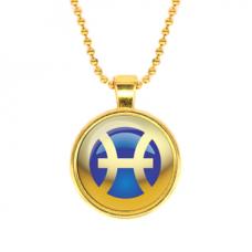 ALK560 Кулон с цепочкой Знаки Зодиака - Рыбы, цвет золот.
