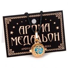 "AM007-G Аромамедальон ""Вишуддха чакра"" открывающийся 2см, цвет золото"