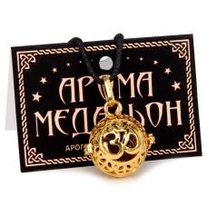 """AM009-G Аромамедальон """"Ом"""" открывающийся 2,7см, цвет золото"""