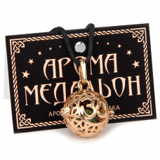 """AM009-RG Аромамедальон """"Ом"""" открывающийся 2,7см, цвет красное золото"""
