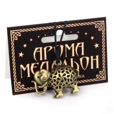 AM035-B Аромамедальон Слон 3,3см цвет бронза