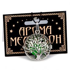AM049 Аромамедальон открывающийся Дерево Жизни 3,3см цвет серебр.