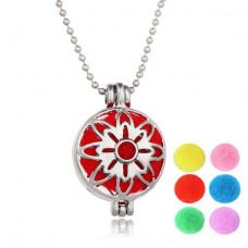 AMK001 Аромамедальон с цепочкой и 6 сменными шариками 26х19мм, цвет серебр.