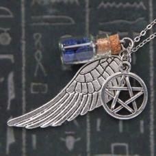 AMS001-1 Аромафлакон с камнем лазурит, крылом, пентаграммой, цепочкой