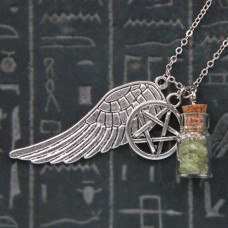 AMS001-2 Аромафлакон с камнем перидот, крылом, пентаграммой, цепочкой
