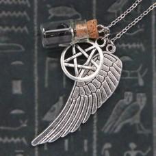 AMS001-3 Аромафлакон с камнем чёрный агат, крылом, пентаграммой, цепочкой
