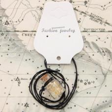 AMS002-1 Аромафлакон с камнем цитрин, шнурком и картонным подвесом