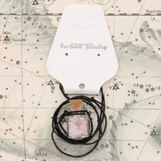 AMS002-3 Аромафлакон с камнем розовый кварц, шнурком и картонным подвесом
