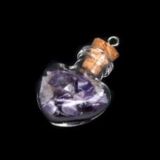 AMS005-А Кулон - флакон 2,4см с натуральным камнем Аметист