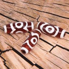 BDZ001-01O Тибетская бусина Дзи, натуральный агат, 1 шт, размер 29~30,5x9~12мм