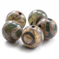 BDZA-003-14 Тибетская бусина Дзи, натуральный агат, 1 шт, диаметр ~14мм