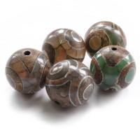 BDZA-003-16 Тибетская бусина Дзи, натуральный агат, 1 шт, диаметр ~16мм