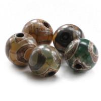 BDZA-003-8 Тибетская бусина Дзи, натуральный агат, 1 шт, диаметр ~8мм