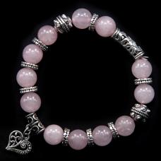 BJBS-034 Браслет Сердце, натуральный камень розовый кварц 10мм