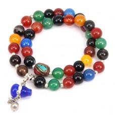 BJBS-070 Двойной браслет с тибетской бусиной, цветной агат 8мм, подвески в ассорт.