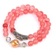 BJBS-072 Двойной браслет Розовый халцедон 8мм