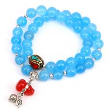 BJBS-076 Двойной браслет с тибетской бусиной, голубой агат 8мм