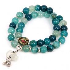 BJBS-078 Двойной браслет с тибетской бусиной, синий агат 8мм