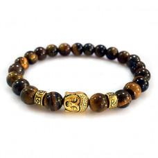 BJBS-101T Браслет Будда из натурального камня Тигровый глаз 8мм