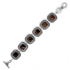 BJBS-119-T Браслет с камнем тигровый глаз, L.19,7см, металл