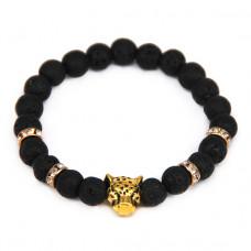 BJBS-148-G Браслет Леопард, лава 8мм, цвет золот.