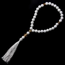BJCH-007 Чётки из натурального камня белый агат христианские 24см