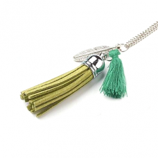 BJK001-GR Кулон Ангел-хранитель с цепочкой, цвет зелёный