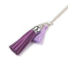 BJK001-PU Кулон Ангел-хранитель с цепочкой, цвет фиолетовый