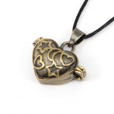BJK007-03 Открывающийся кулон Сердце, цвет бронза, со шнурком