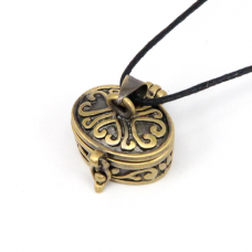 BJK007-04 Открывающийся кулон Овальная шкатулка, цвет бронза, со шнурком
