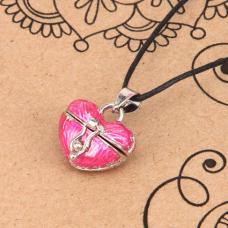 BJK008-01 Открывающийся кулон с эмалью Сердце, со шнурком
