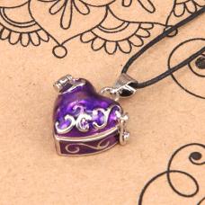 BJK008-06 Открывающийся кулон с эмалью Сердце, со шнурком