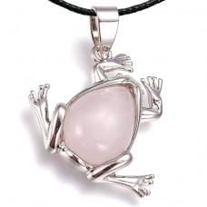 BJK012-R Кулон Лягушка со шнурком, розовый кварц