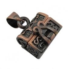 BJK017-17 Открывающийся кулон - шкатулка 19х12мм, металл, цвет медный