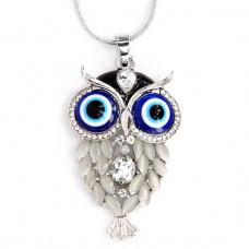 BJK020-2 Кулон с цепочкой Сова со стразами и глазами Назар 63х38мм, цвет серебр.