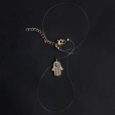 BJK021G Кулон на леске - невидимке Хамса со стразами, цвет золот.