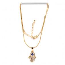 BJK024 Тонкая цепочка с кулоном Хамса с глазом 2,5см со стразами, цвет золот.