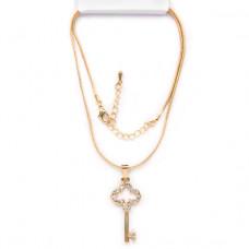 BJK026 Тонкая цепочка с кулоном Ключ 3,7см со стразами, цвет золот.