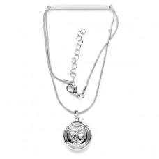 BJK030 Тонкая цепочка с открывающимся кулоном Два сердца 2см, цвет серебр.