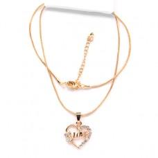 BJK031 Тонкая цепочка с кулоном Сердце Love 2,3см со стразами, цвет золот.
