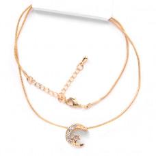 BJK032 Тонкая цепочка с кулоном Полумесяц со звездой 1,3см со стразами, цвет золот.