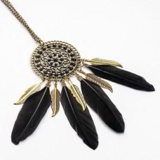 BJK039-2 Кулон с перьями и цепочкой 12,8см, цвет бронза, чёрный