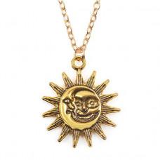 BJK046 Кулон с цепочкой Солнце и Луна 30х25мм, цвет золот.