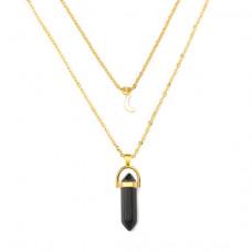BJK051-BA Кулон - маятник на цепочке Чёрный агат, цвет золот.