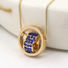 BJK052 Кулон с цепочкой Сердце в кольце со стразами 20мм, цвет золот.