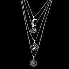 BJK067 Четырехуровневая цепочка с кулонами Мандала, Ом, Слон, Месяц
