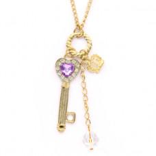 BJK075-G Кулон с цепочкой Ключ 5,3см, цвет золот.