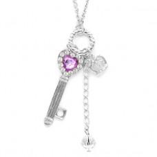 BJK075-S Кулон с цепочкой Ключ 5,3см, цвет серебр.